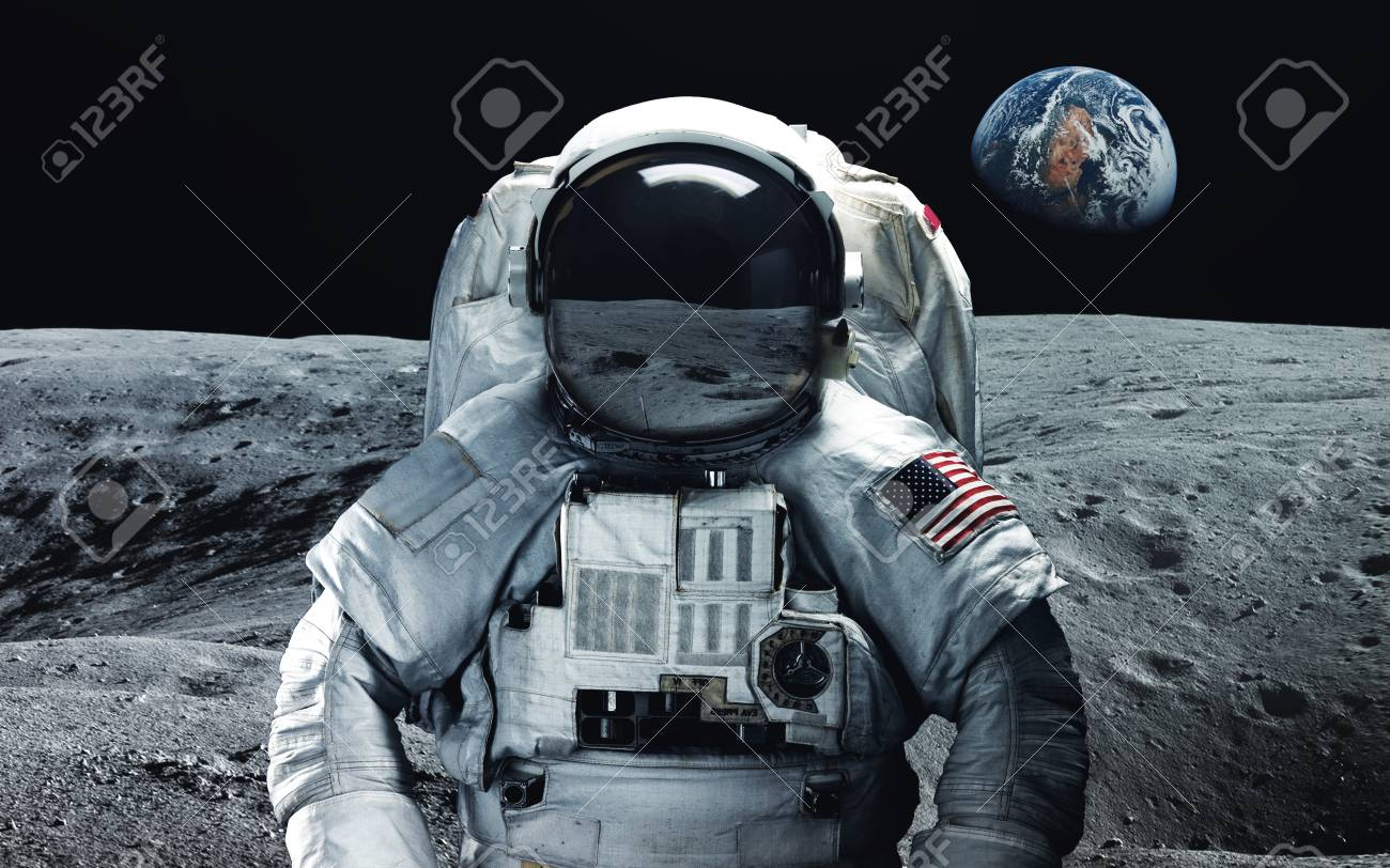 Astronaut at the moon. Abstract space wallpaper. Universe filled with stars, nebulas, galaxies and planets. Elements of this image furnished by NASA - 88707785