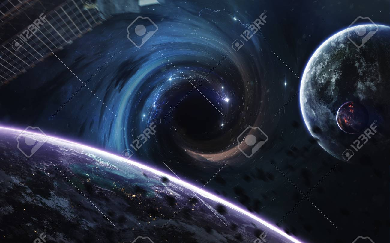 Black Hole Abstract Space Wallpaper Universe Filled With Stars Stock Photo Picture And Royalty Free Image Image 88563435
