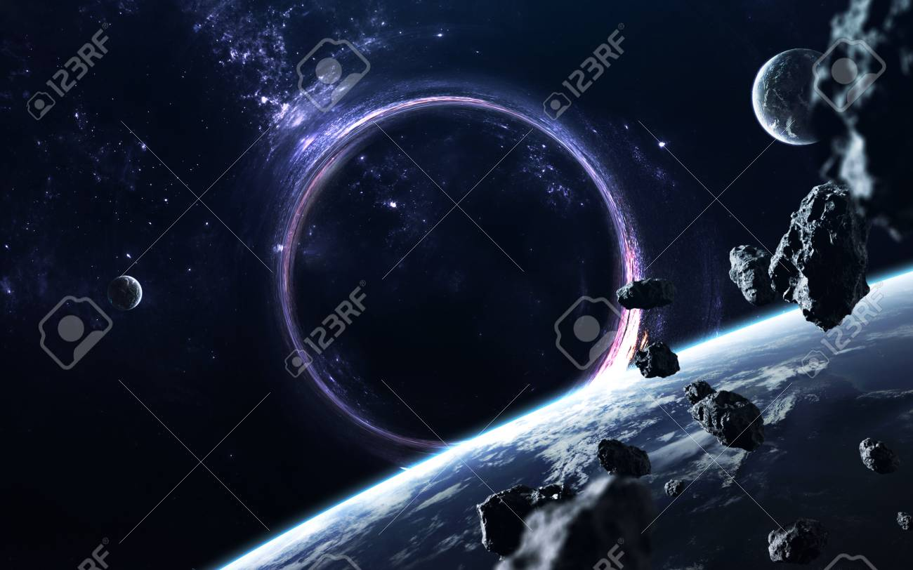 black hole. science fiction wallpaper. stock photo, picture and