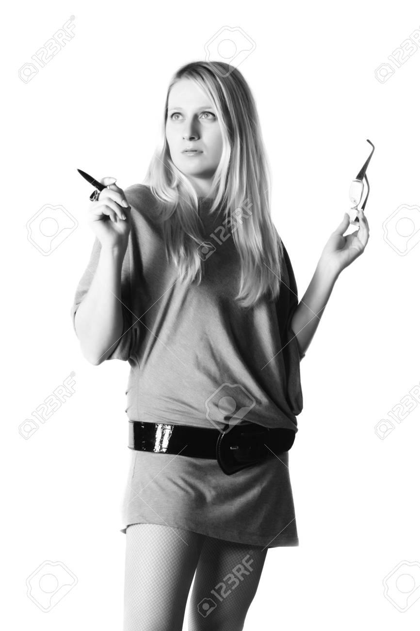 Monochrome photo of pretty business woman Stock Photo - 3659346