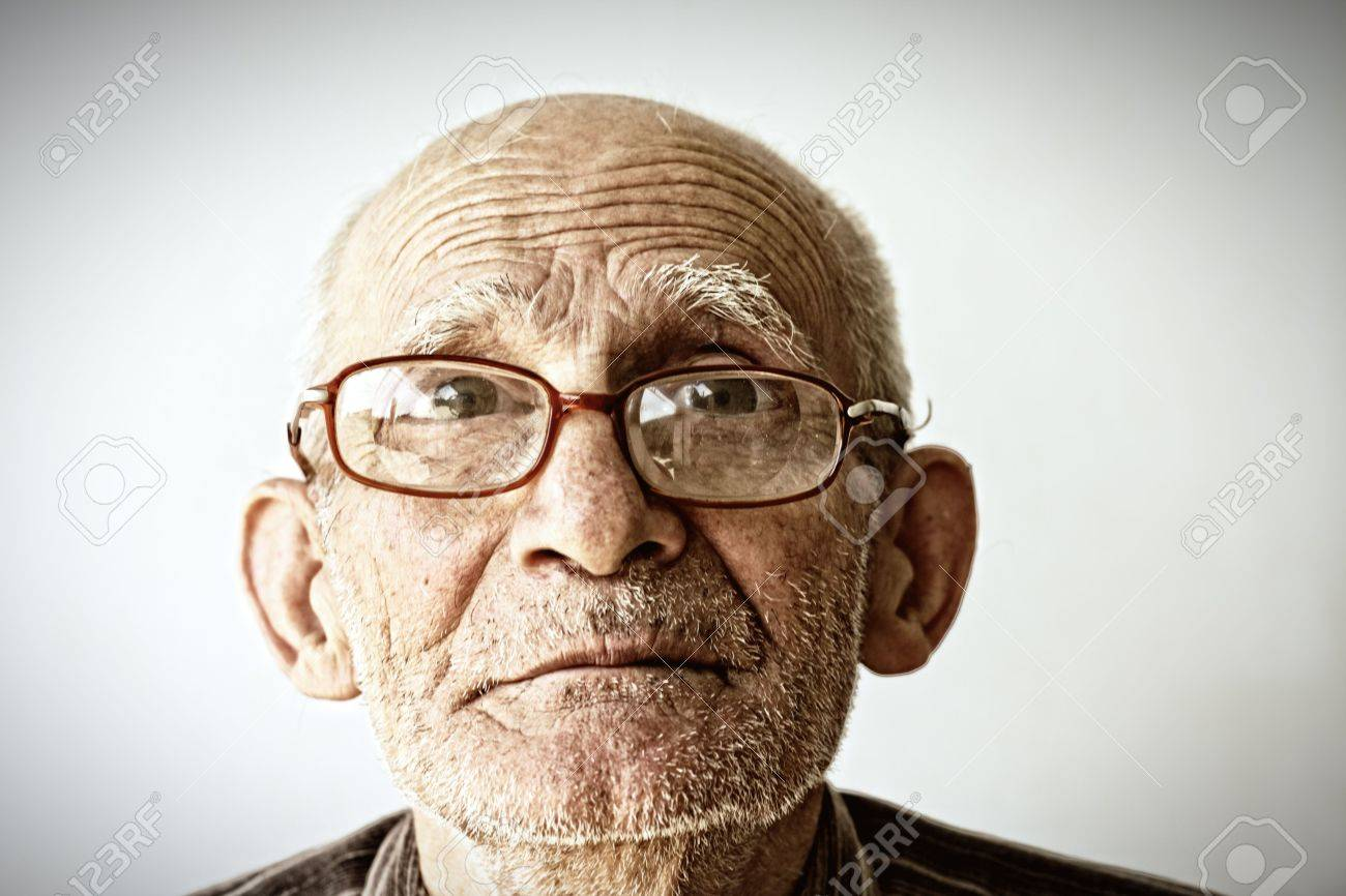 Closeup face portrait of senior man in eyeglasses Stock Photo - 5372297