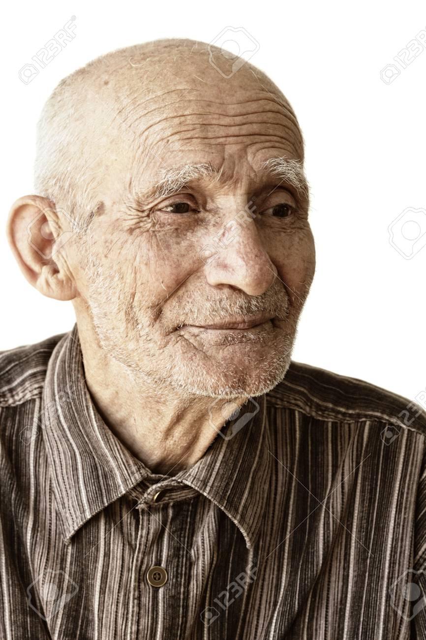 Pensive senior man portrait against white background Stock Photo - 5384183