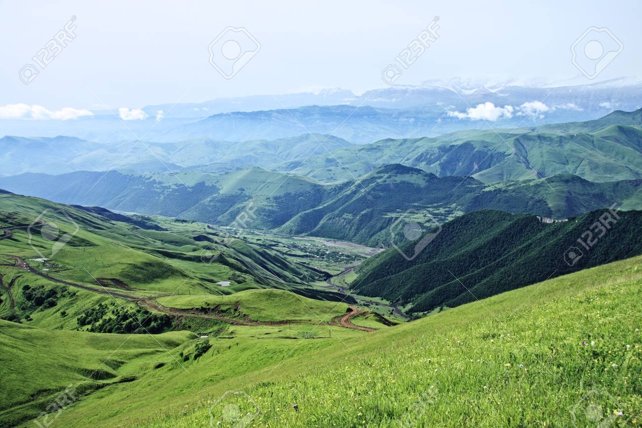 Kurah-chai valley at the foot of Great Caucasus range mountains Stock Photo - 6423090