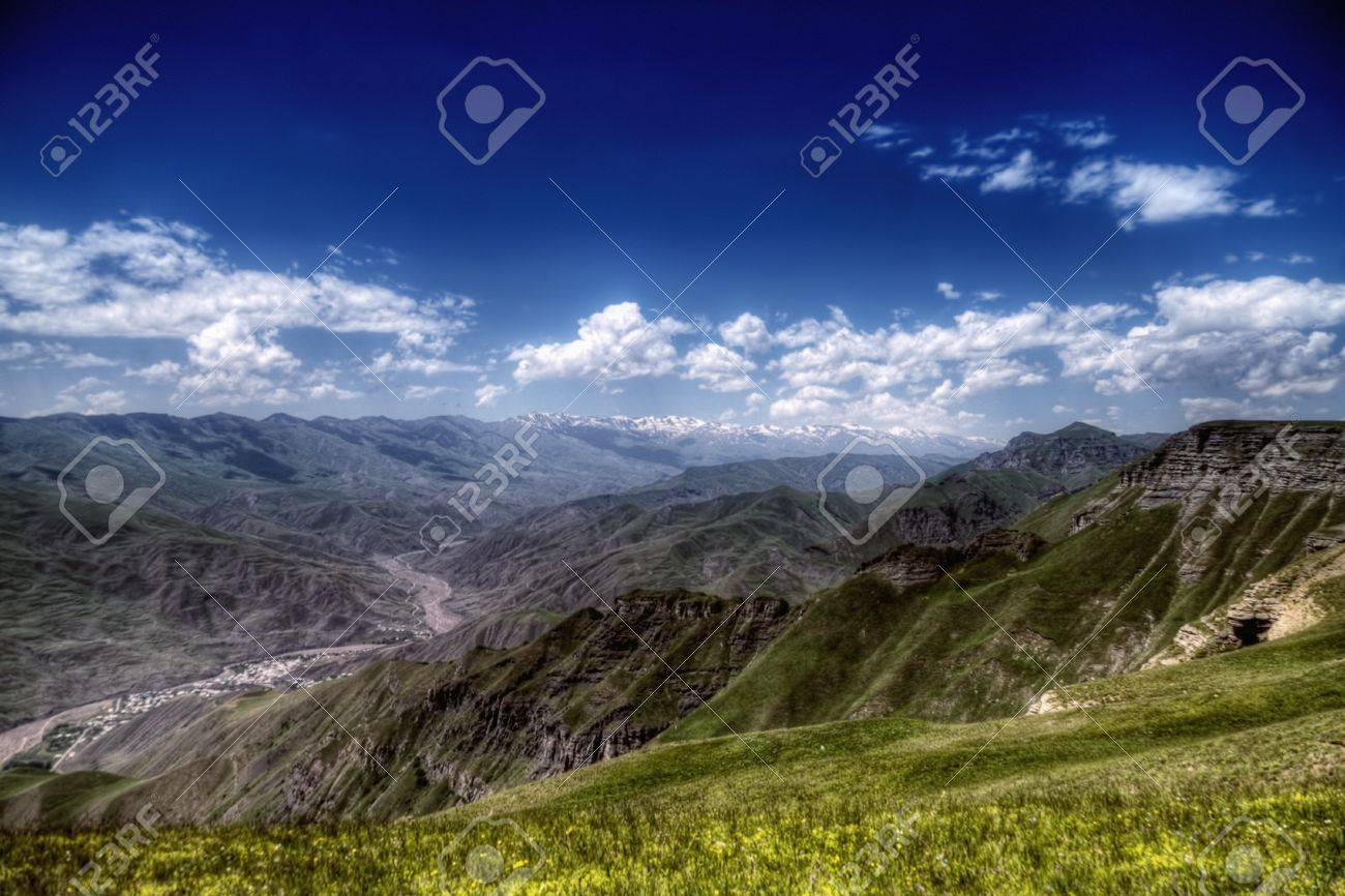 Village by mountaing river side view from above hills Stock Photo - 10926021