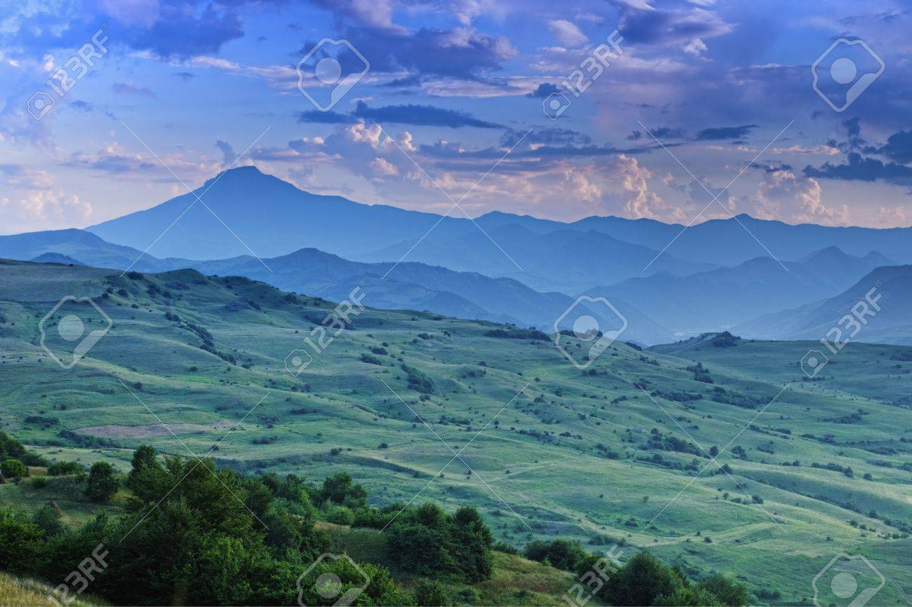 Mountains in dusk with ridge at backdrop Stock Photo - 15560711