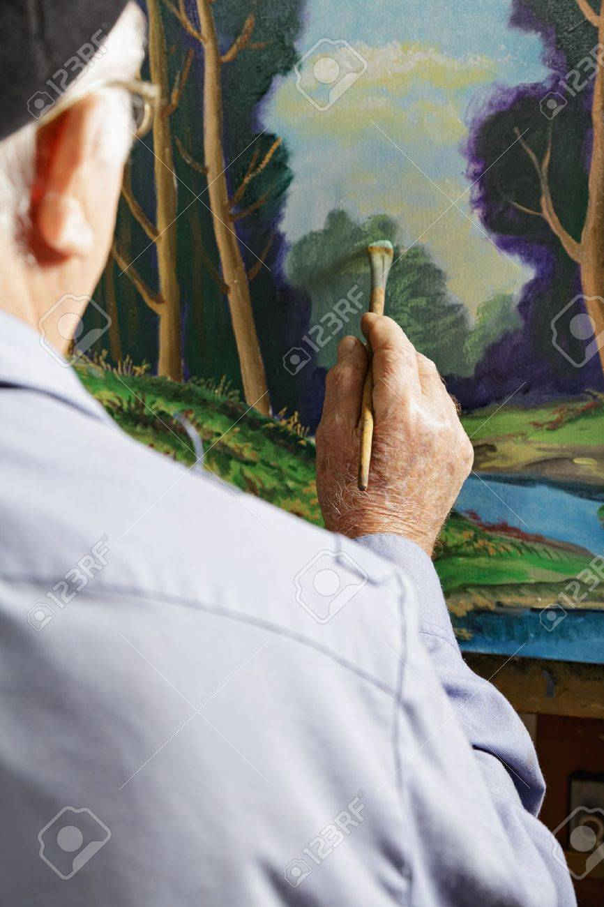 Painter Painting Picture In Workshop Rear View Stock Photo ...