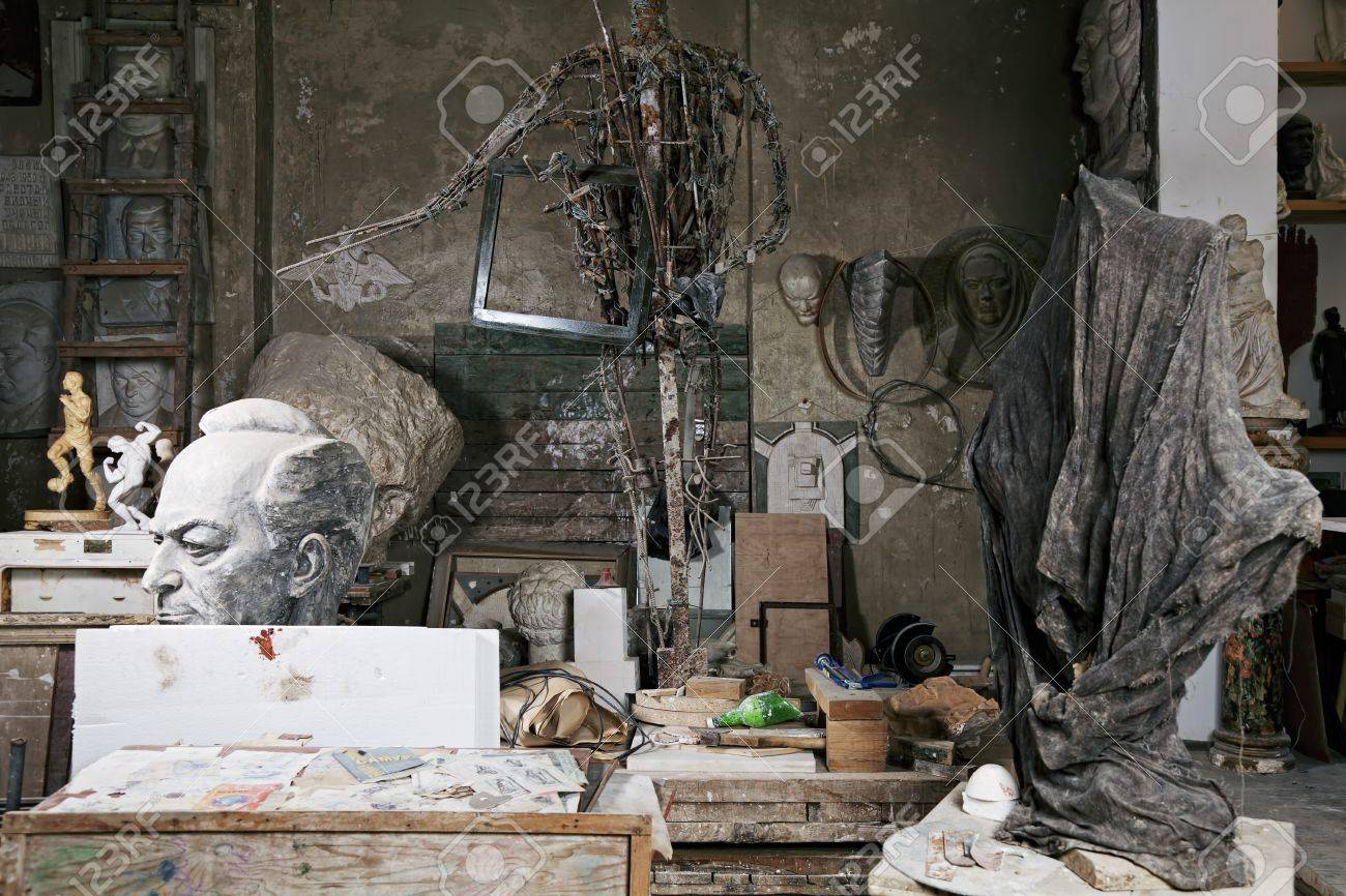 Sculptor workshop with various statues and reliefs around Stock Photo - 16469305