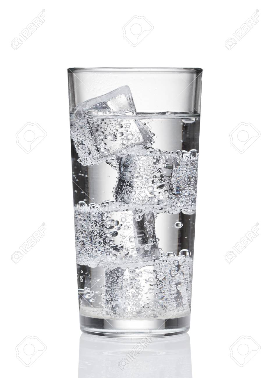 bf574706dd0 Stock Photo - Water in a glass on a white background. Cold water with ice.