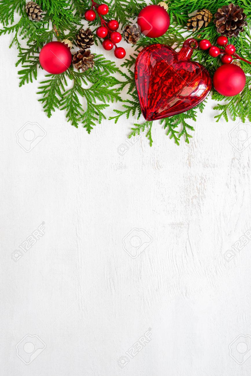 Xmas Or New Year Background Holiday Plain Composition Made Of Christmas Decorations And Fir Twigs
