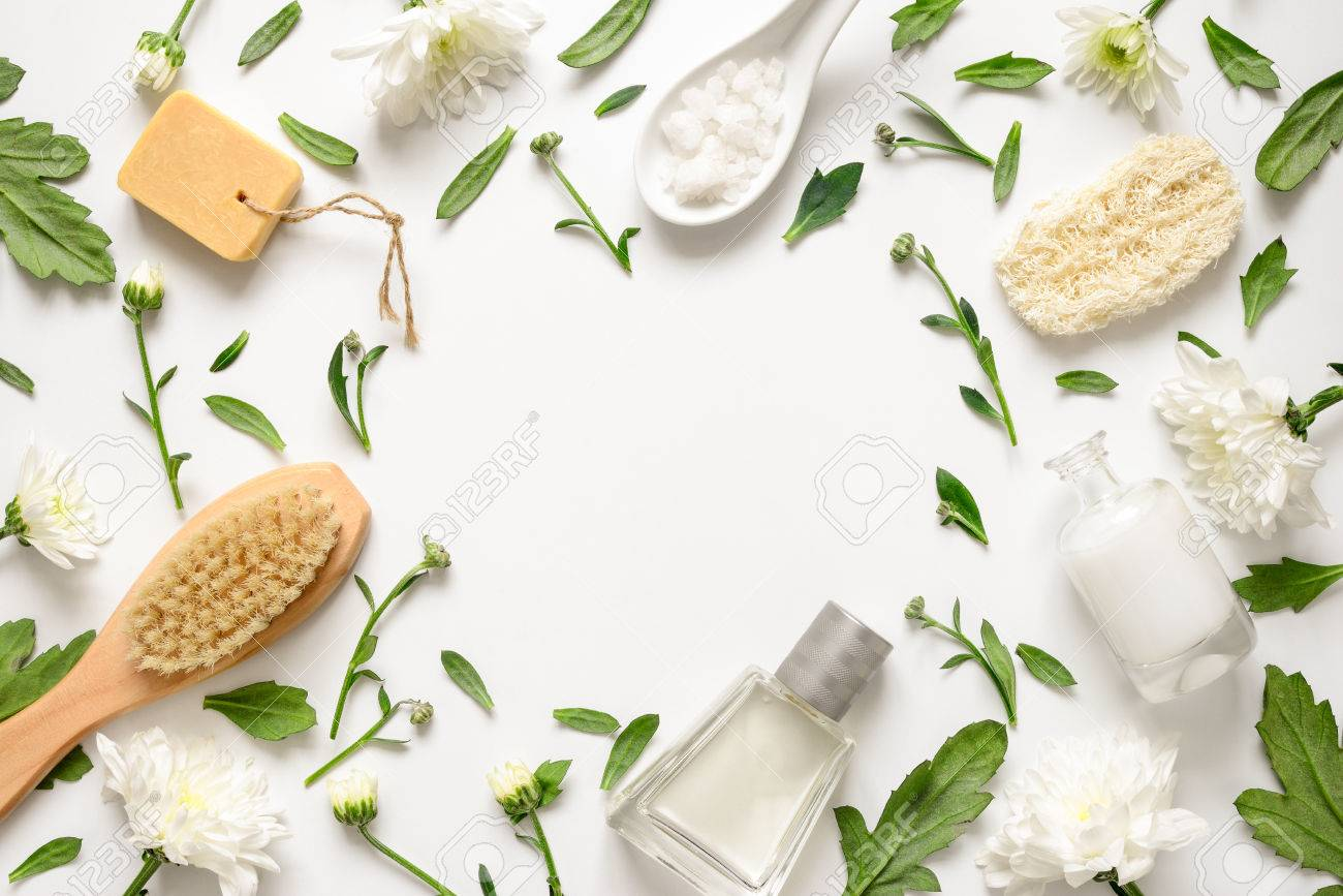 Spa Floral Background Flat Lay Of Various Beauty Care Products