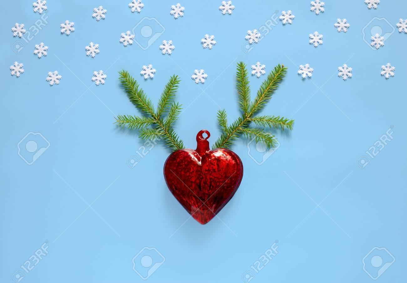 Christmas or new year greeting card concept xmas heart shaped christmas or new year greeting card concept xmas heart shaped decoration with christmas tree twines m4hsunfo