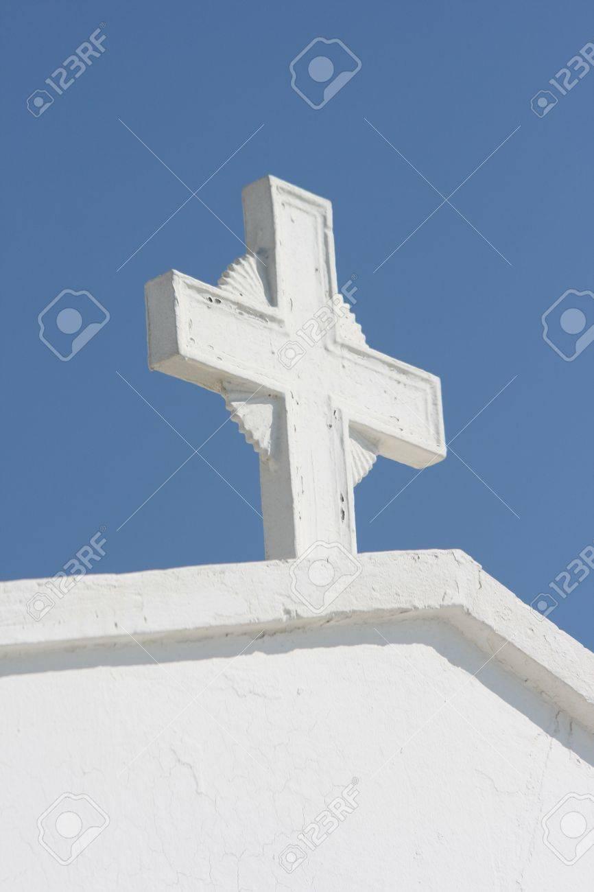 white cross detail from profitis helias church dome athens greece - 1787568