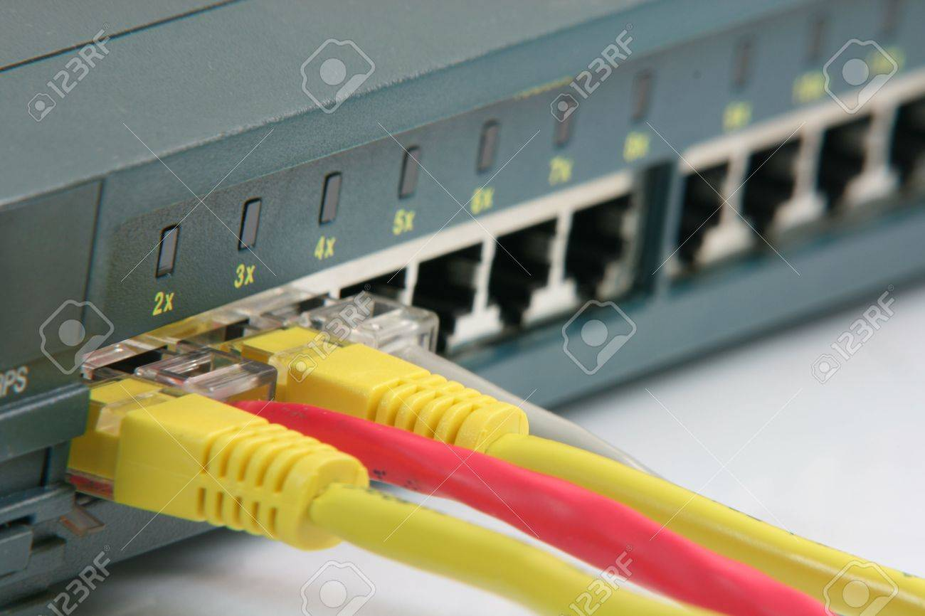 router hab with ethernet cables computer network - 1828818