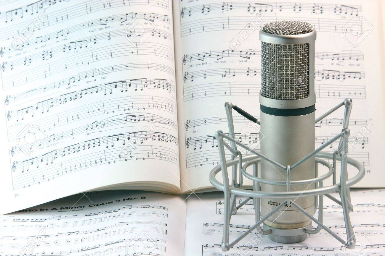 notes background and music recording microphone studio tools - 2038544