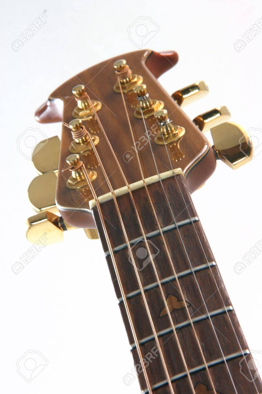 music instruments guitar detail strings on white background - 2038534