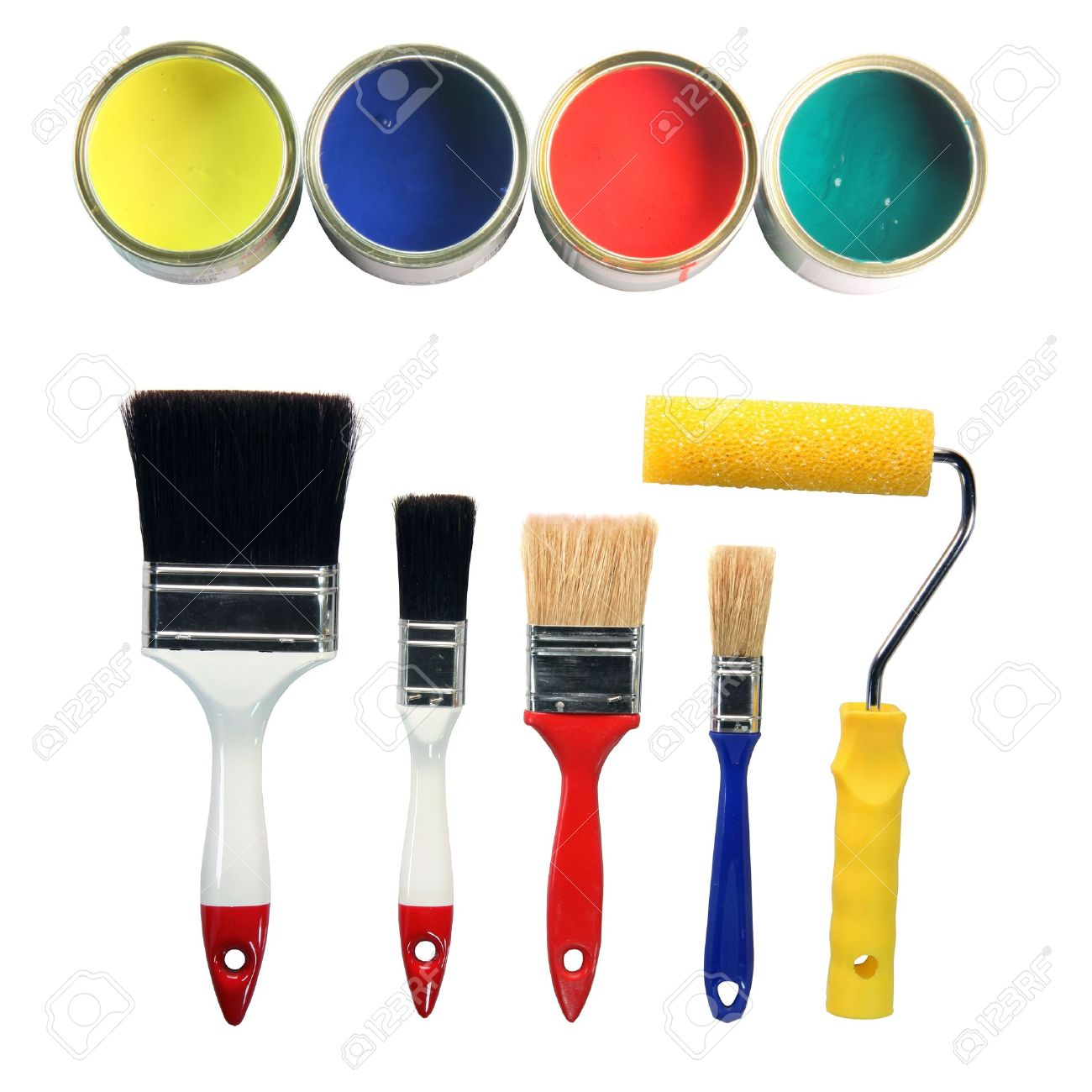 four color cans and four paint brushes and paint roll totaly isolated on white background hardware tools Stock Photo - 2251016