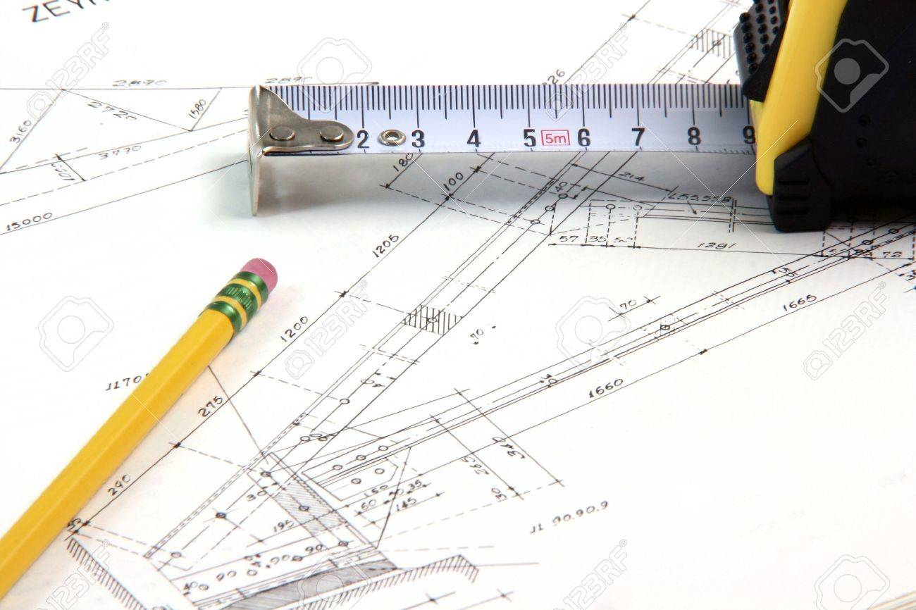 construction designs with pencil and meter tape architecture and building industry - 2251008