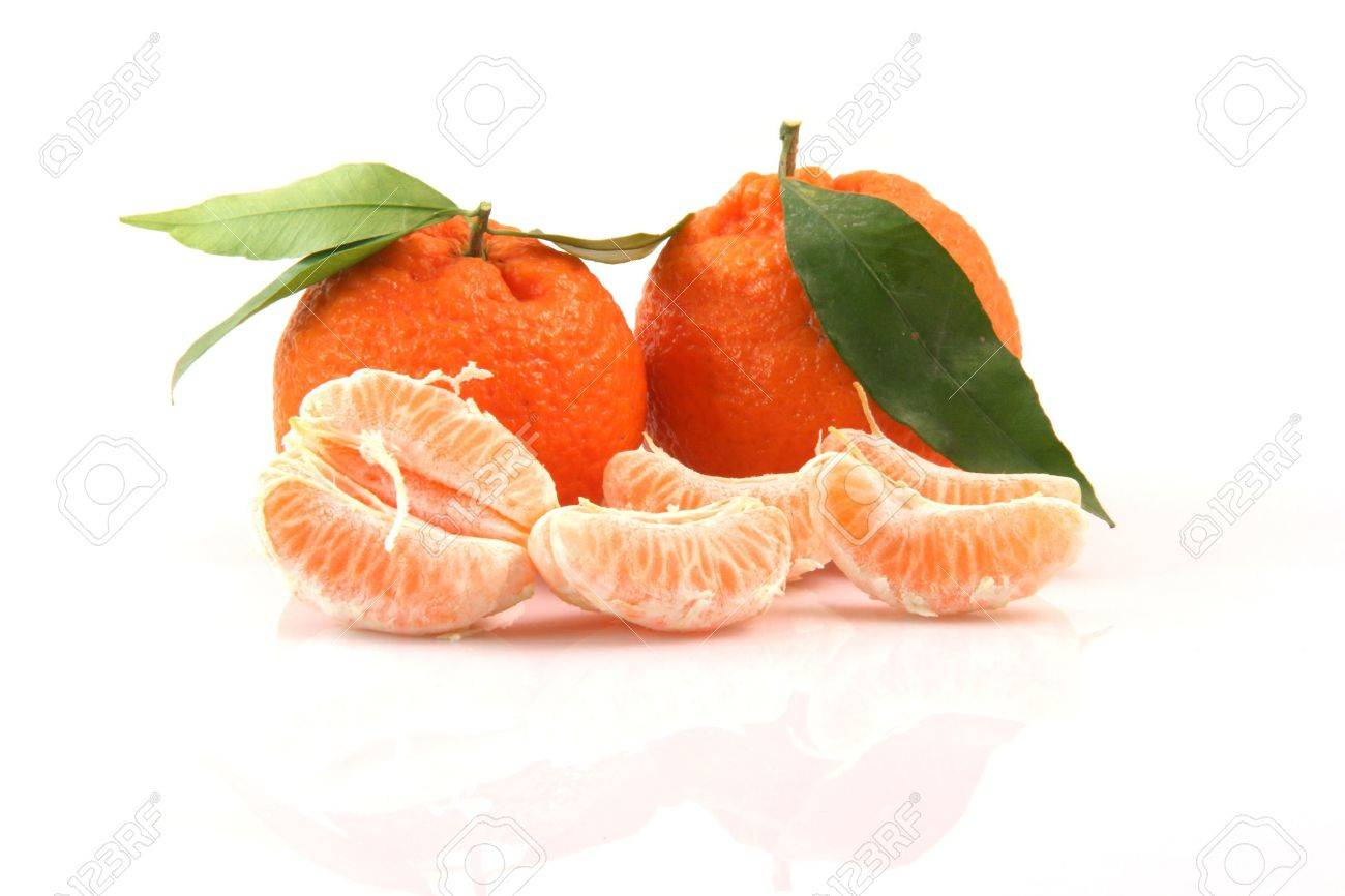 two mandarins with leaf and slices isolated on white background fruits and agriculture concepts - 2378893