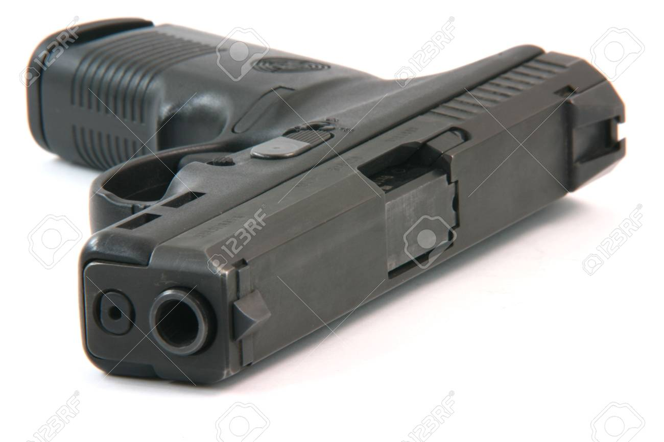 closeup automatic handgun isolated on white background weapons arms Stock Photo - 2538468