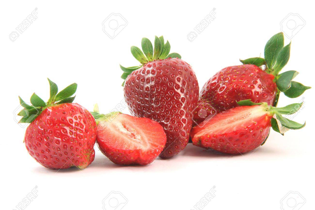 group of strawberries close-up one is cut in half isolated on white background healthy eating - 2564015