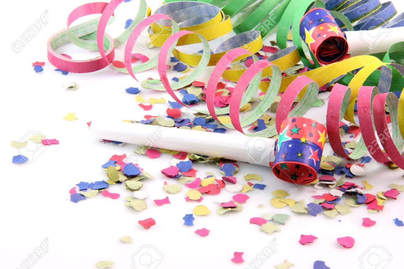 paper confetti with streamers and party blowers on white background with copy space - 2576334