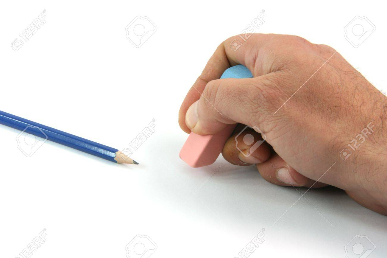 business concepts erasing mistakes and black pencil isolated on white background - 2613408