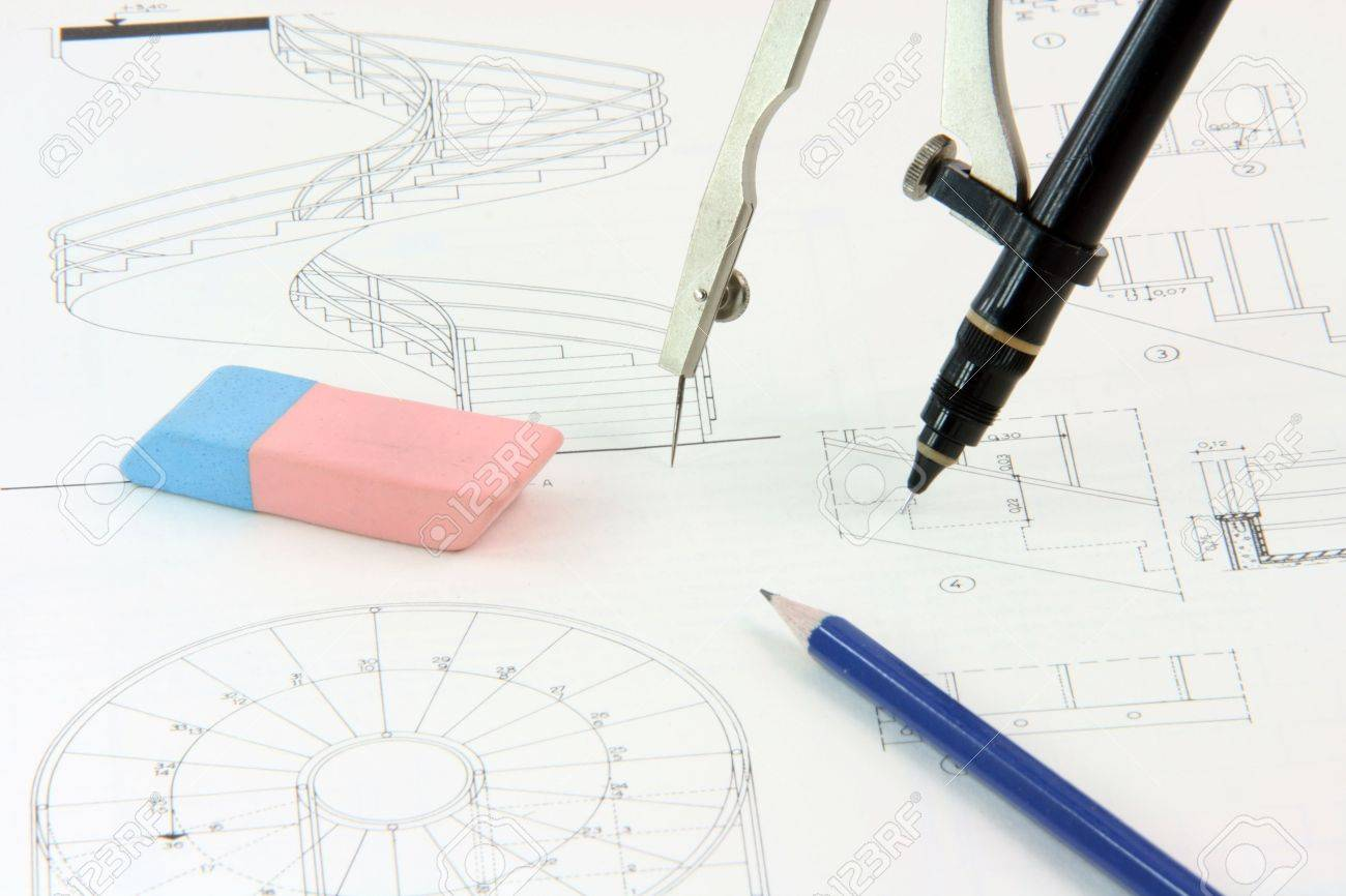 Stock Photo Architecture Designs Background And Desing Tools Compass With Rapidograph Detail Eraser And Pencil