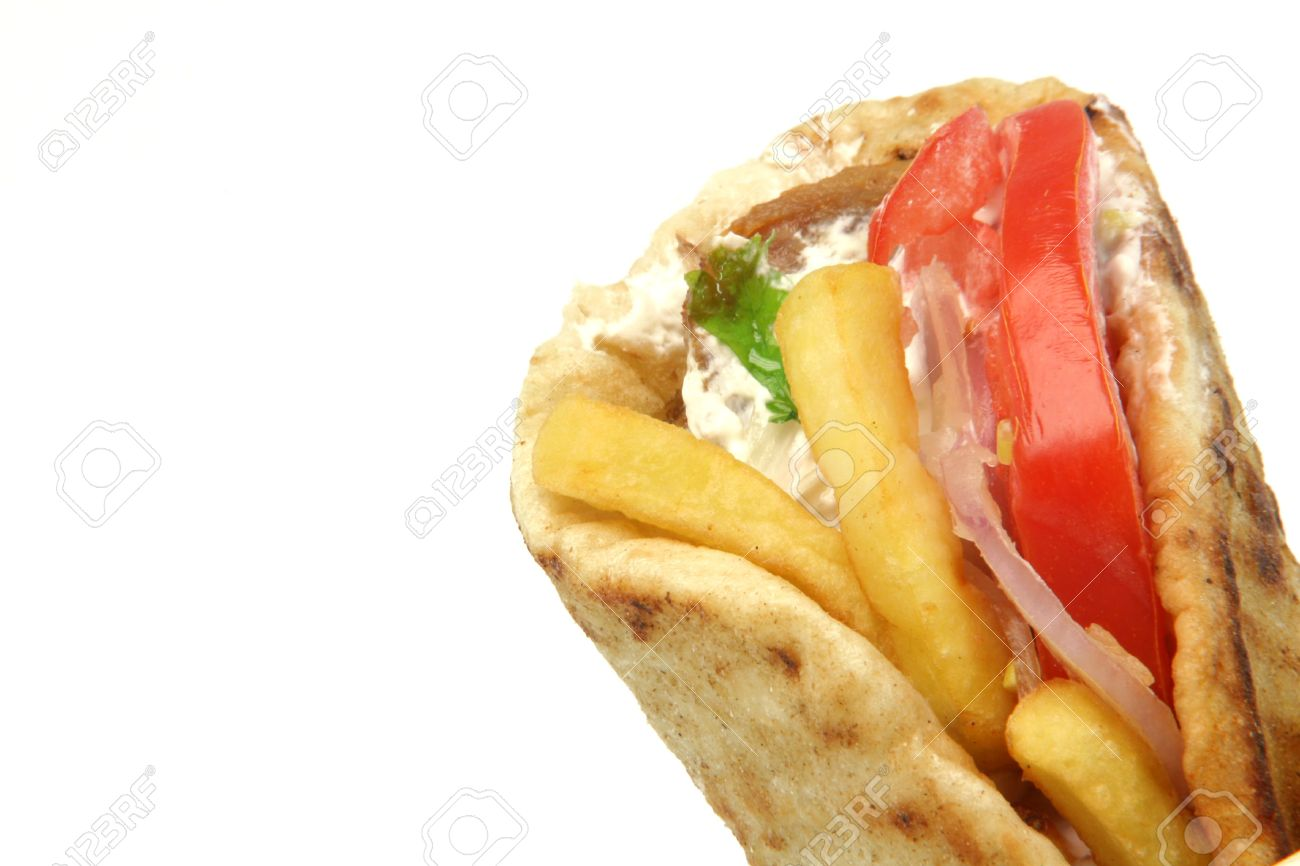 traditional greek food gyros kebap deatil with copy space isolated on white background - 2875227
