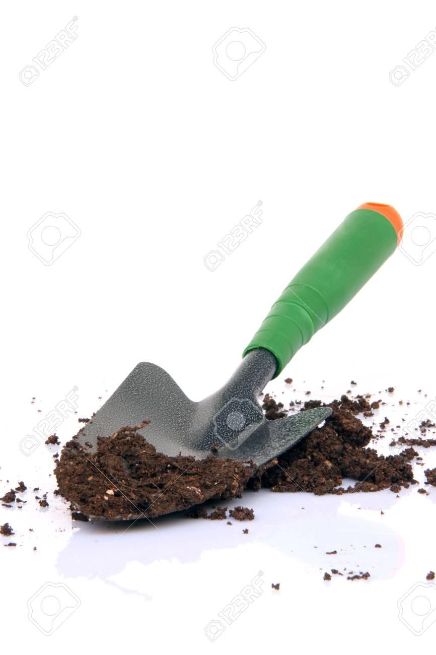 garden tools shovel and soil on white background - 3315137