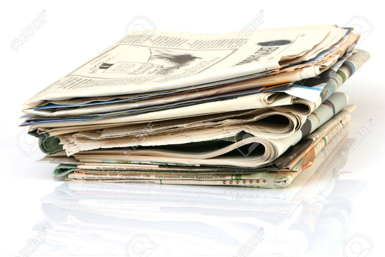 media concepts stack of newspapers with reflection isolated on white background - 3650985