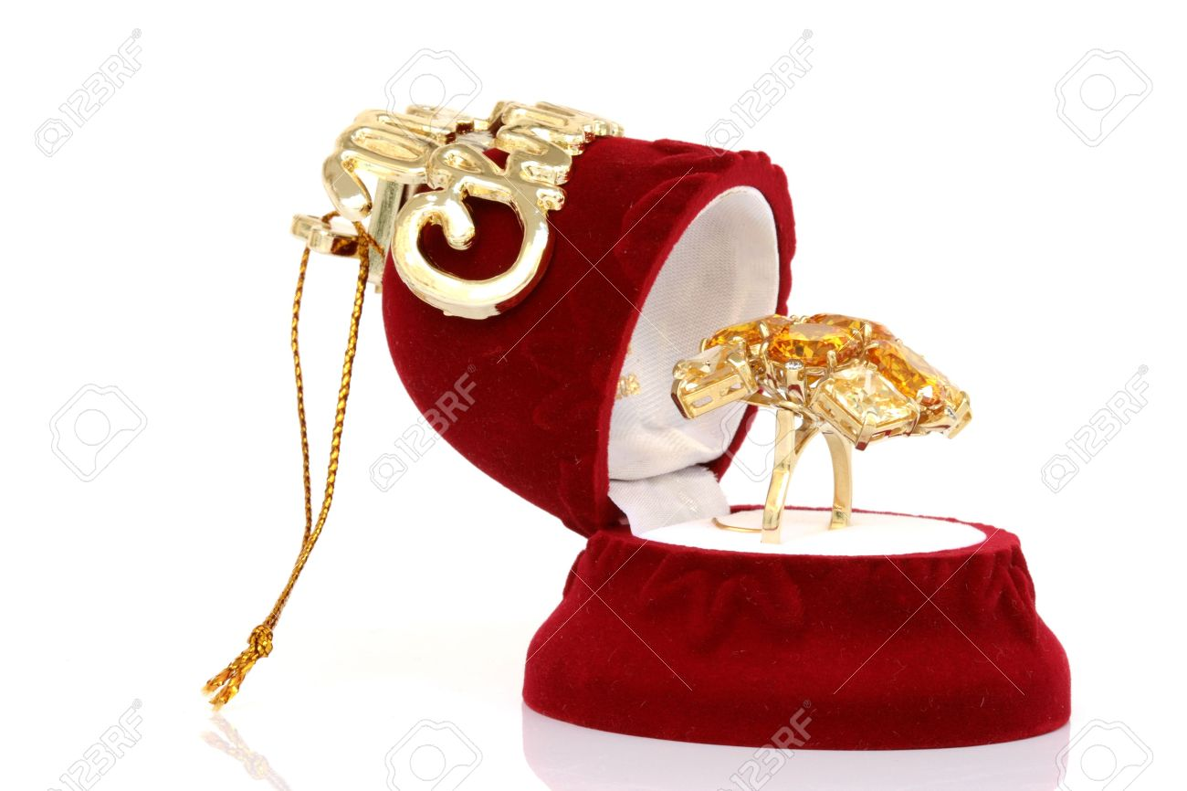 Christmas Jewelry.Christmas Jewelry Box Open With Gold Ring Isolated On White Background