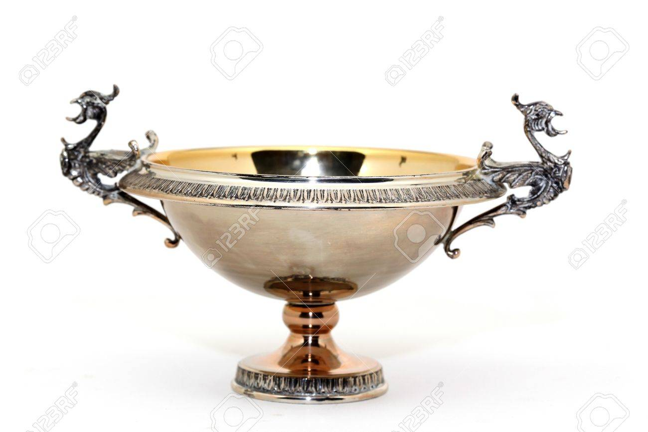 antique decorational silver cup isolated on white background - 4089276