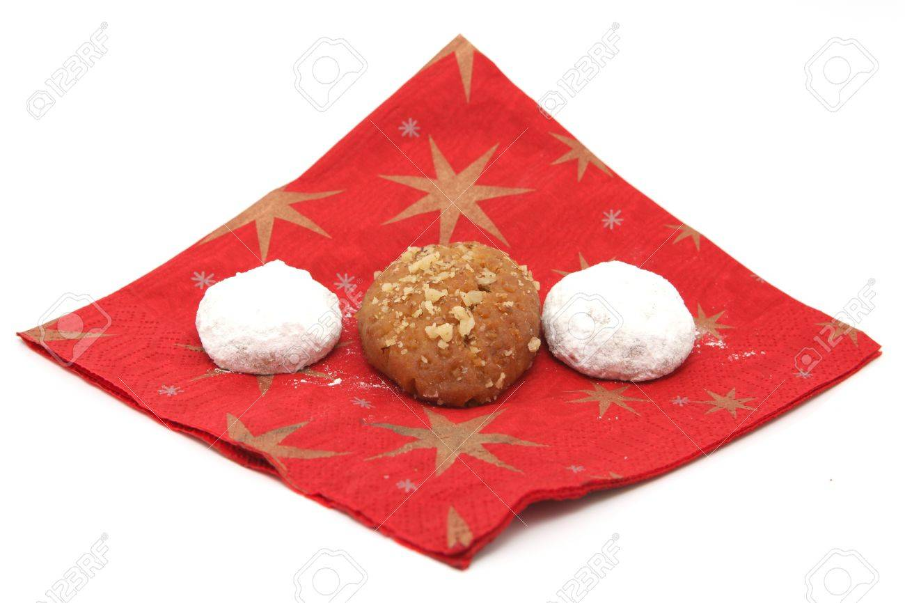 Greek Christmas.Two Traditional Greek Christmas Sweets Melomakarona And Kourampie