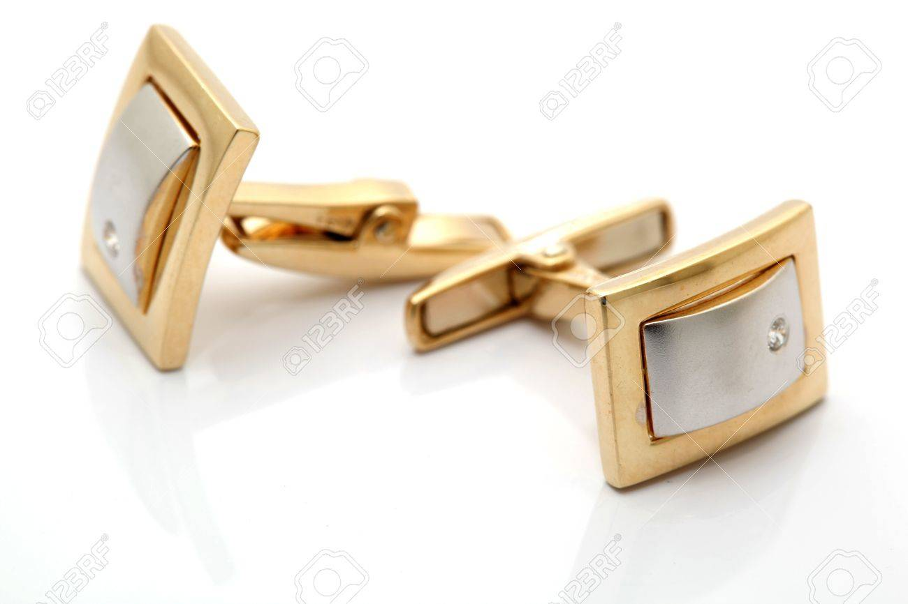 Pair of gold cuff links with diamond isolated with reflection - 4196968