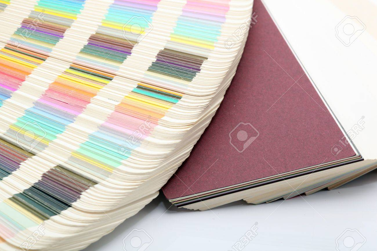 Color printing paper - Stock Photo Detail From Pantone Color Scale And Paper Samples Lithography Printing Industry
