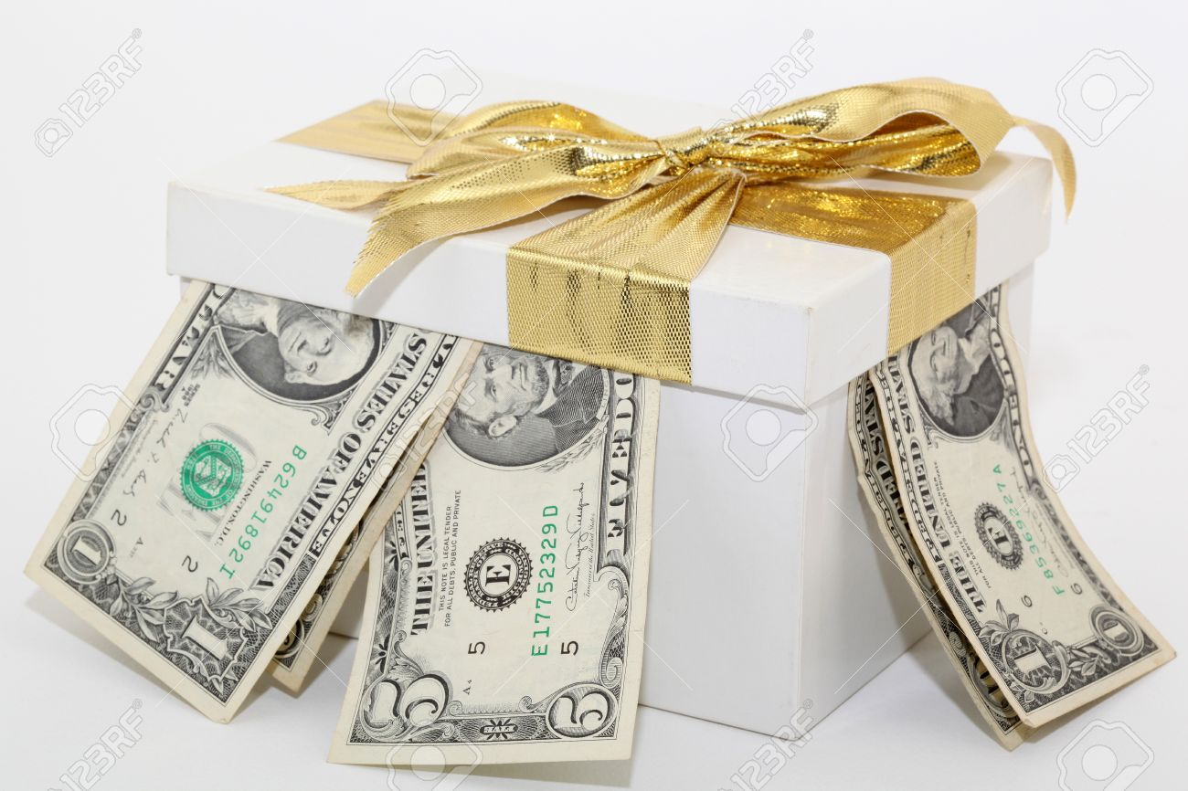 Expensive White Gift Box With Gold Ribbon And Bow And Dollars Stock ...