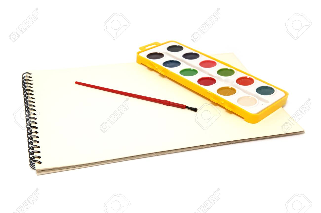 painting objects block, brush and colors isolated on white background Stock Photo - 4196954