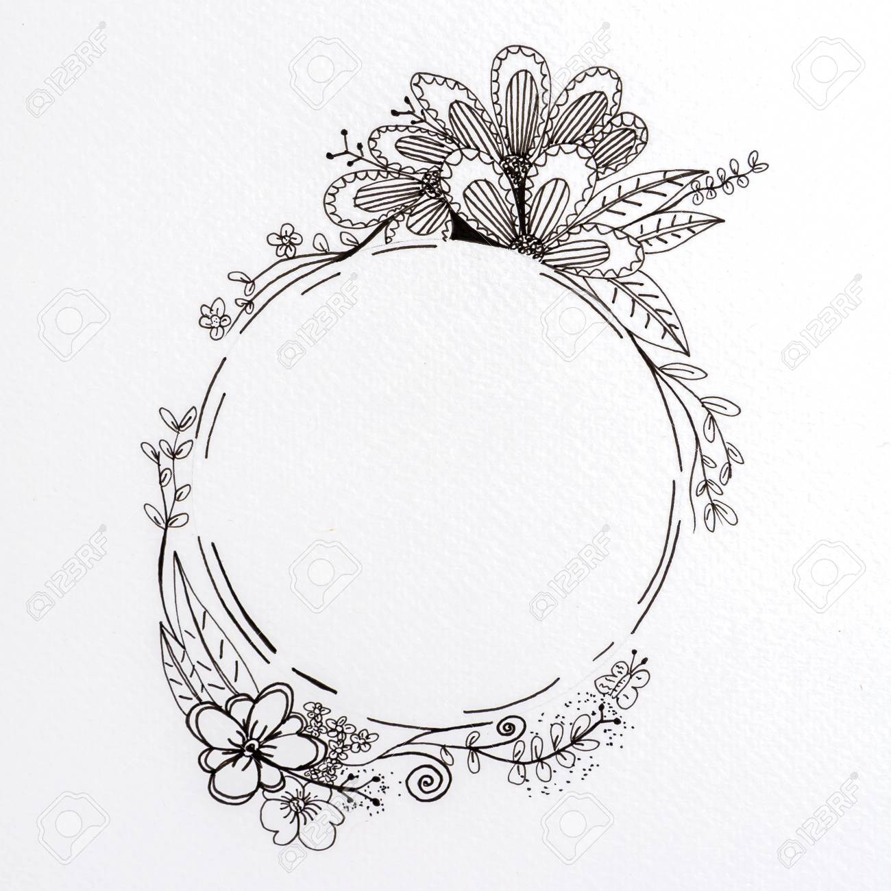 Drawing flower with sketch on white background stock photo 100861659