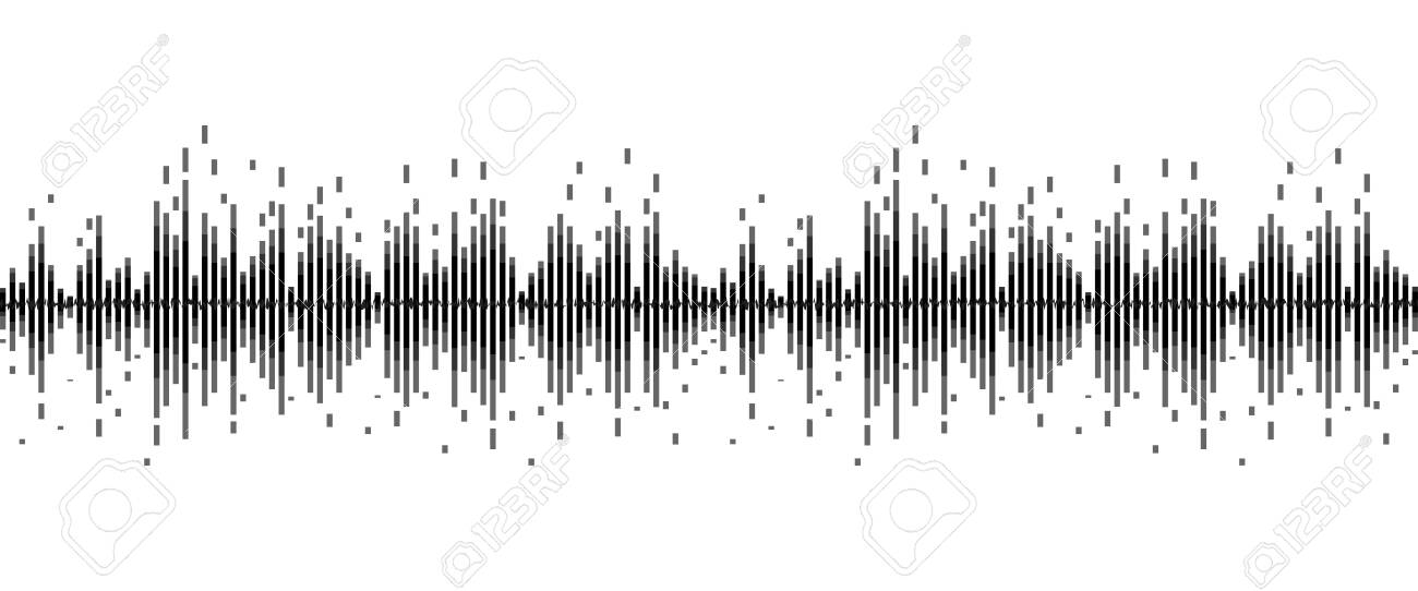 line soundwave abstract background with voice music technology - 124310719