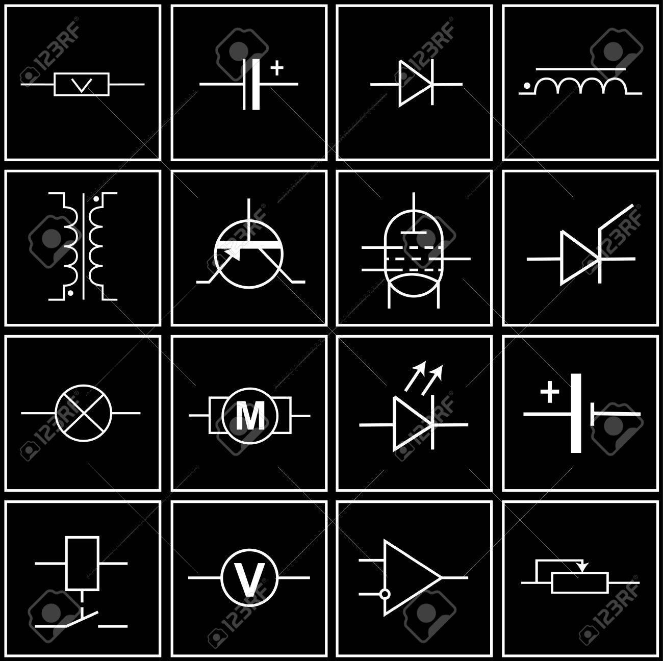 Logos, Symbole Von Elektronischen Komponenten Auf Schaltpläne ...