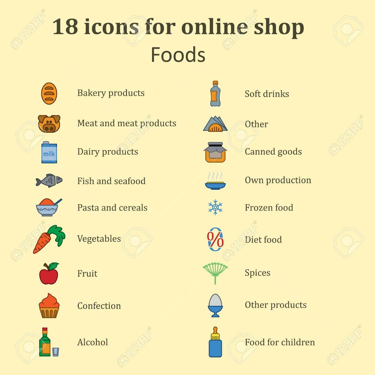 Set Von Symbolen Verschiedener Lebensmittel Für Die