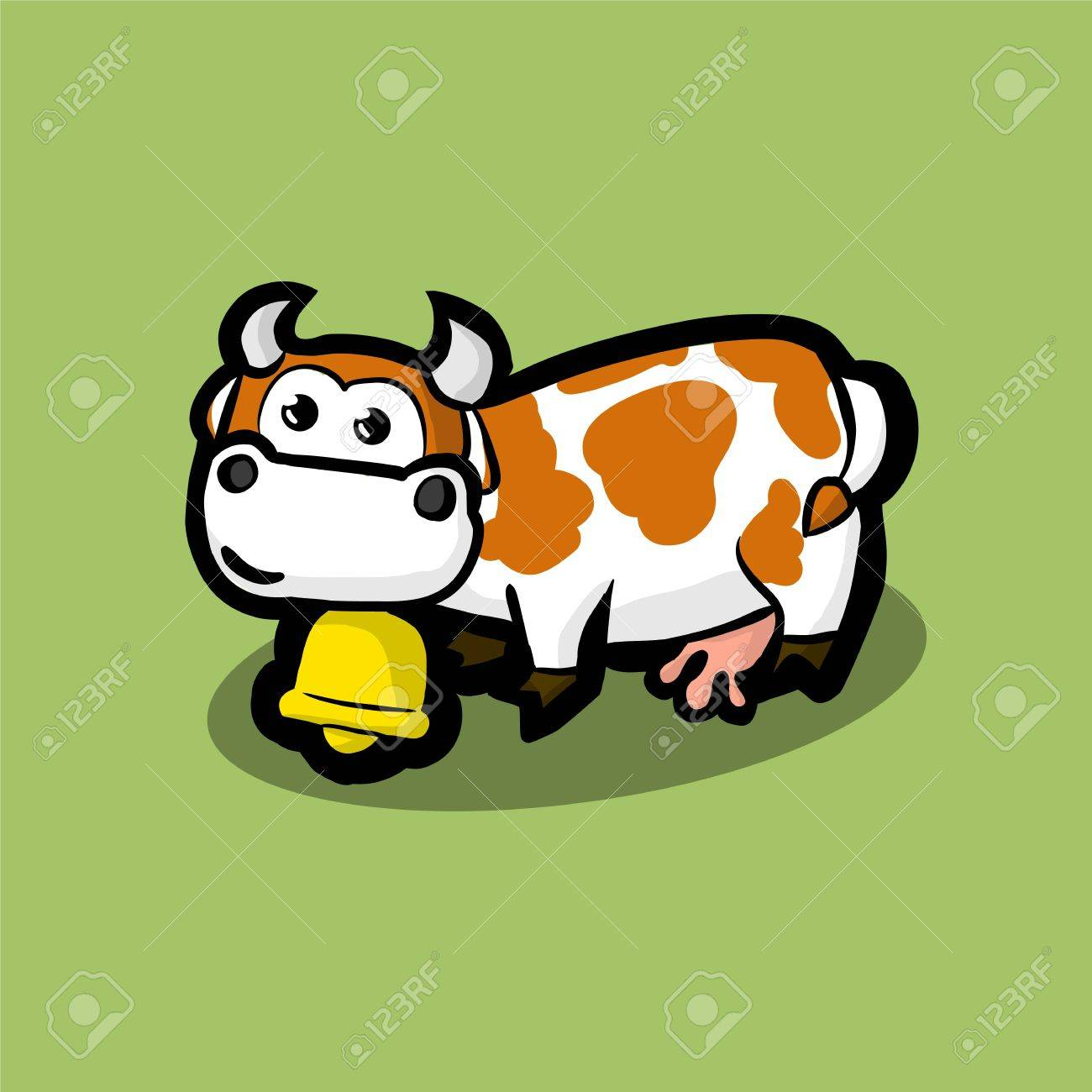 cute cow with a golden bell around on neck on a green meadow. White cow with red spots on her side. Illustration Vector - 69425017