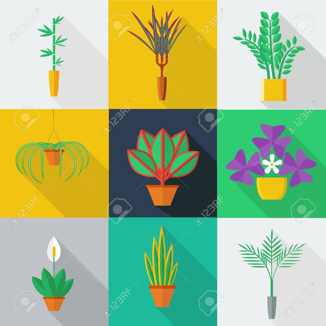 屋内の観葉植物と鍋でオフィスの植物のイラストフラット スタイル