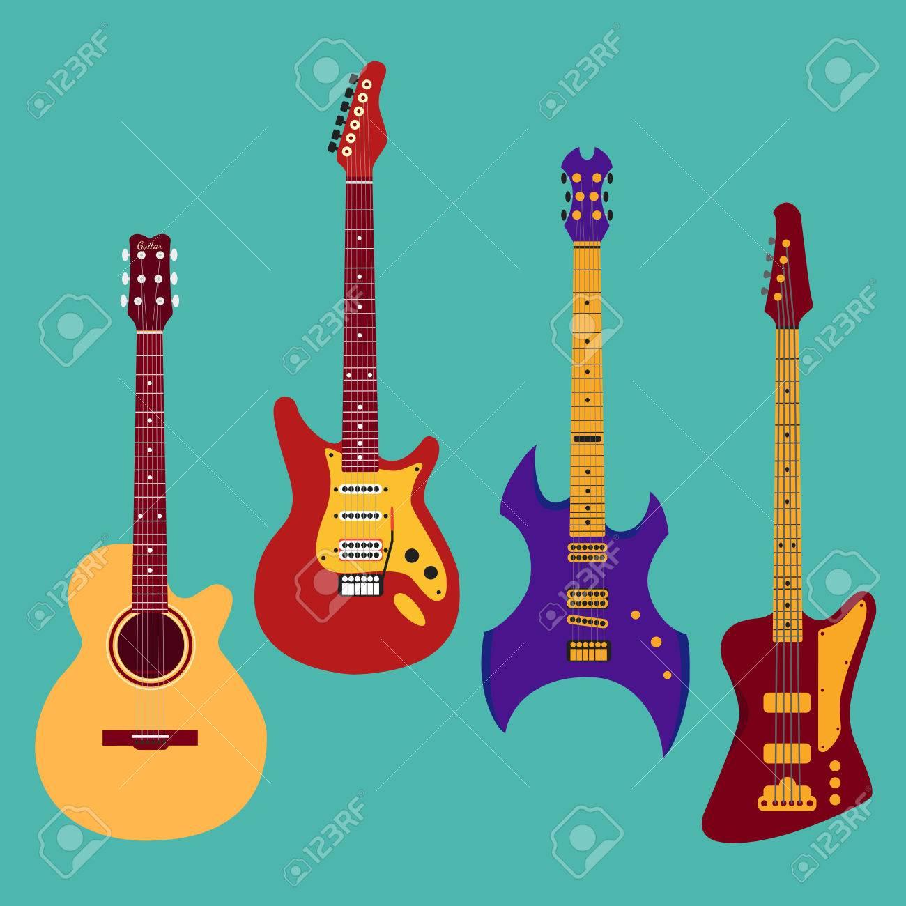 Conjunto De Diferentes Guitarras. Guitarra Acróstico, Guitarra ...