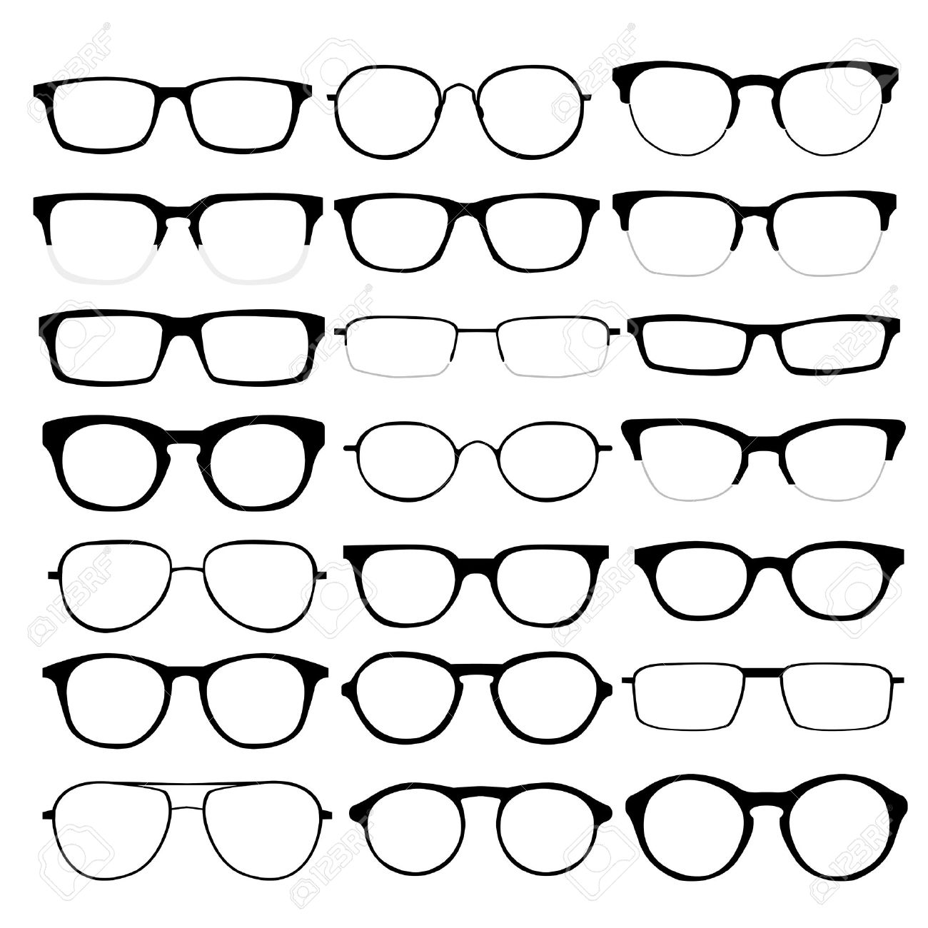 set of different glasses on white background. - 42720442