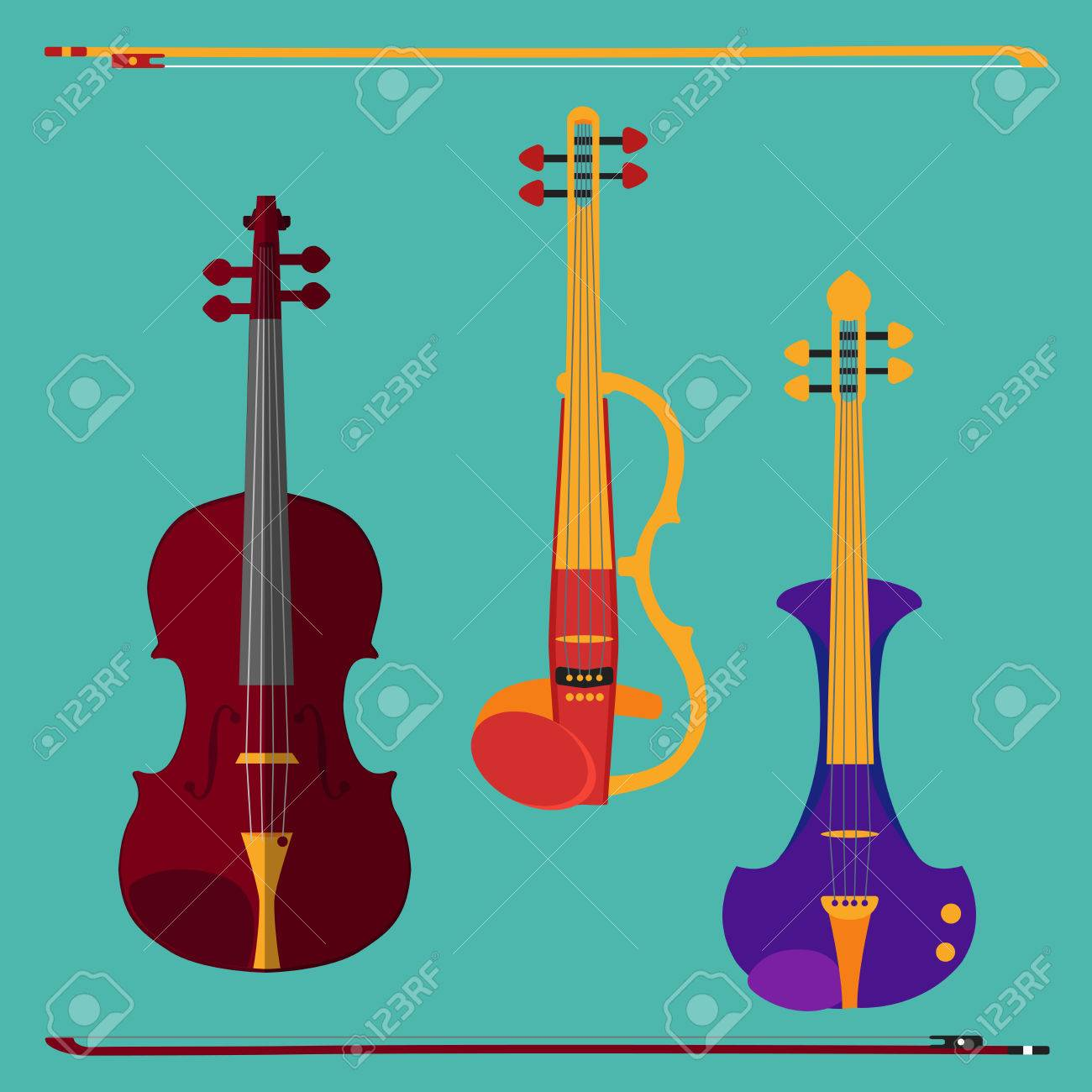 Set of different violins  Classical violin, electric violin with
