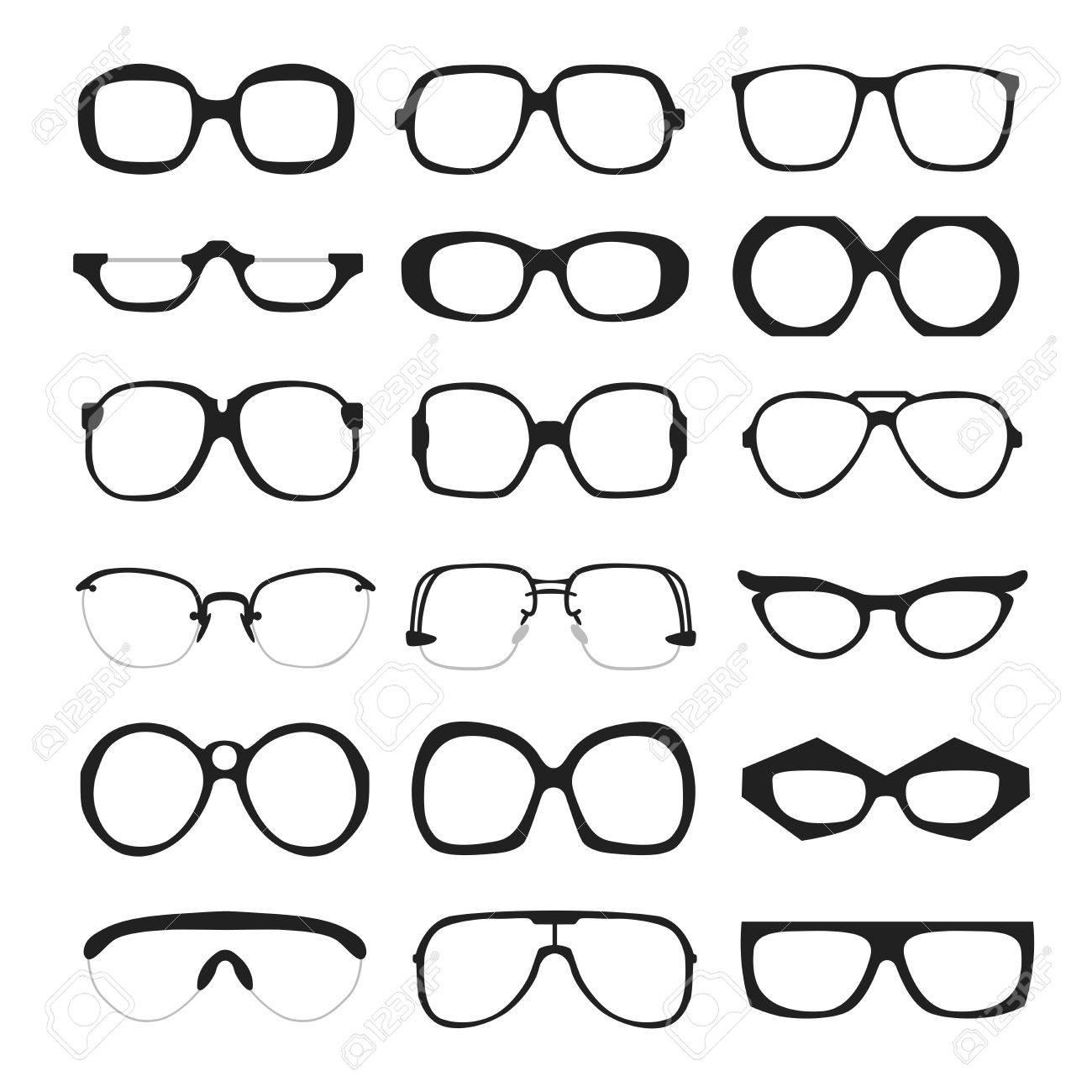 Set Of Different Glasses On White Background. Retro, Wayfarer ...