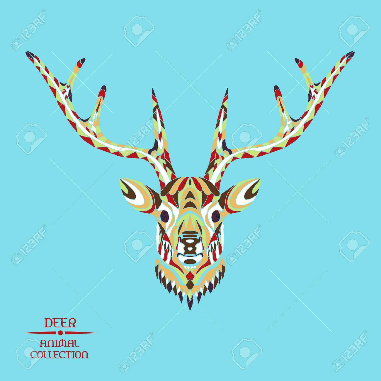 Zentangle Cabeza De Venado Estilizado Colección Animal Dibujado A