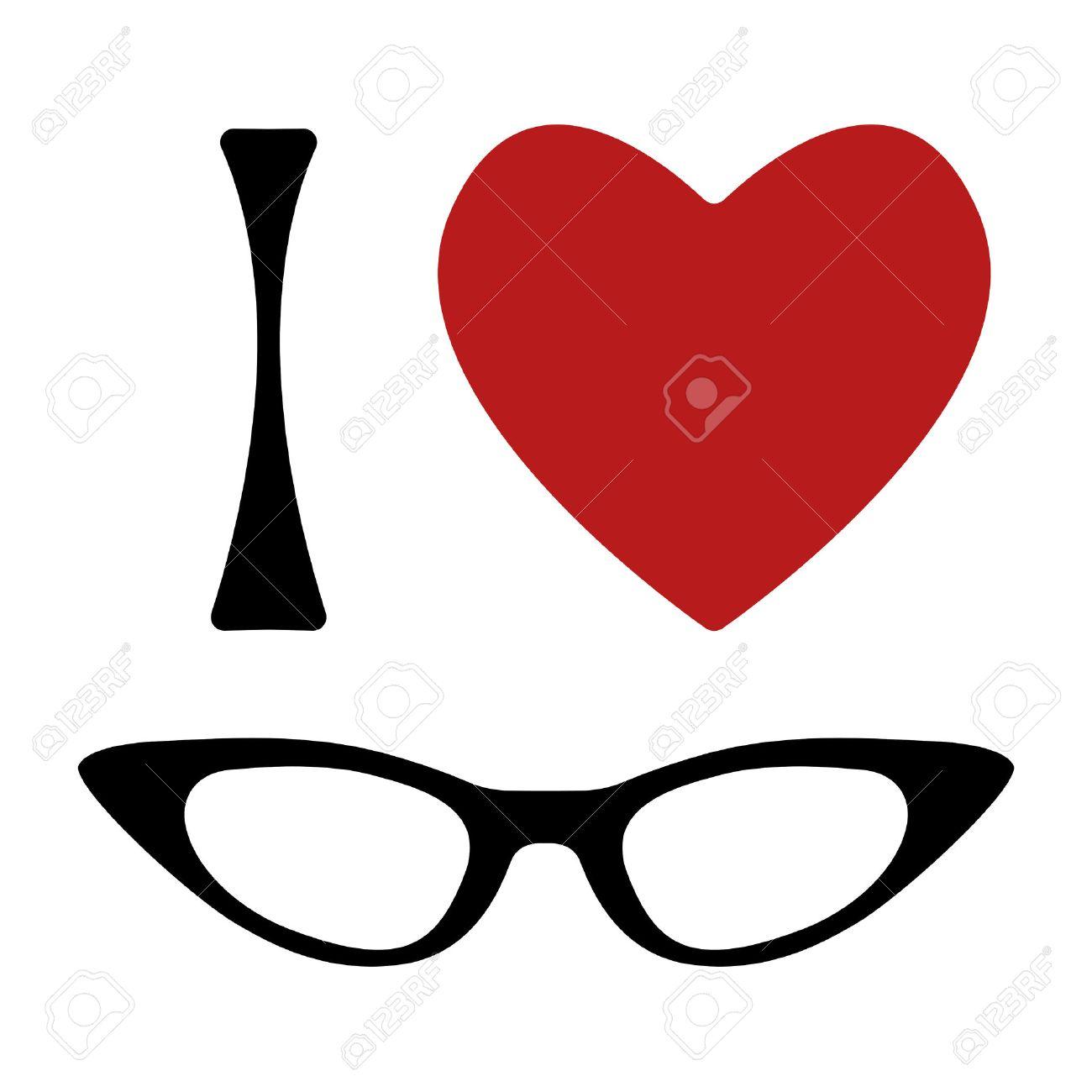 a1959adb35 I love glasses print. Shape of heart and cat eye glasses frame. Vector  illustration