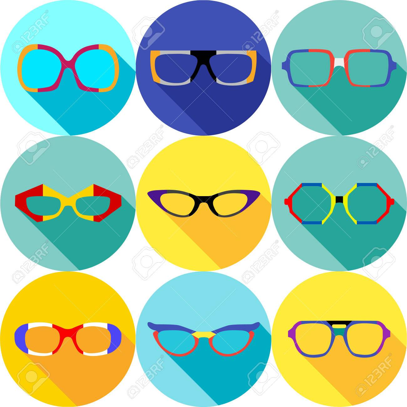 cb79436d1a4 ... hipster eyeglasses frames in different character colors. Super hero  mask glasses collection. Flat style avatar icon. Colorful vector  illustration eps 8